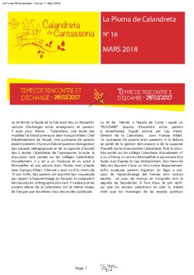 JOURNAL – 16 – CALANDRETA – MARS 2018